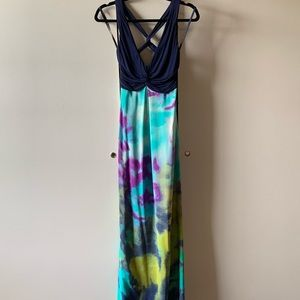 Multi Color Open Back Maxi Dress